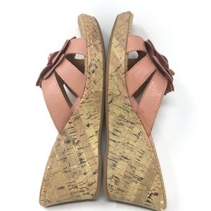 boc Shoes - Born Leather Blush Cork Wedge Heel Sandals 10